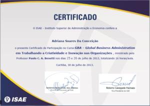 GBA – GLOBAL BUSINESS ADMINISTRATION EM TRABALHANDO A CRIATIVIDADE E INOVAÇÃO NAS ORGANIZAÇÕES